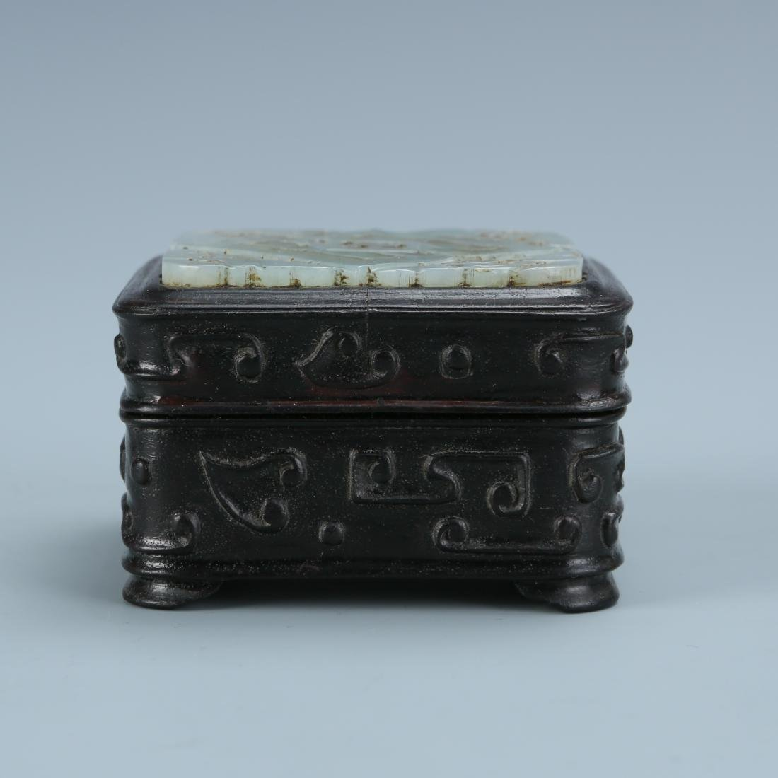 White Jade Covered Zitan  Wood Box - 3