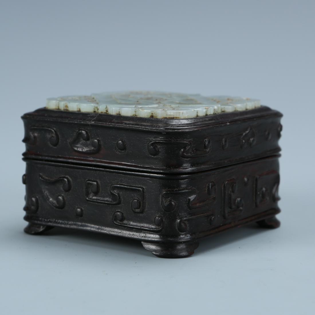 White Jade Covered Zitan  Wood Box - 4
