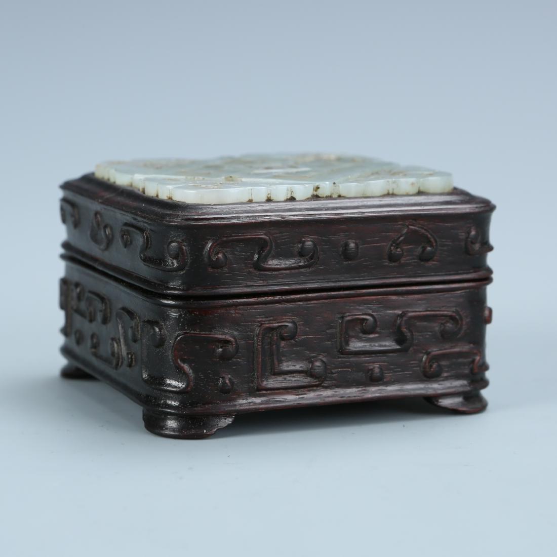 White Jade Covered Zitan  Wood Box - 5