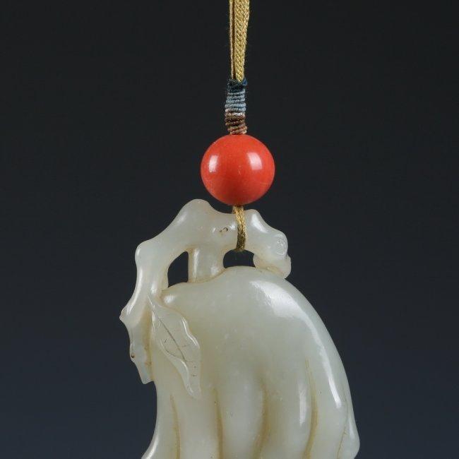 White Jade Buddha's Hand Citron Pendant - 2