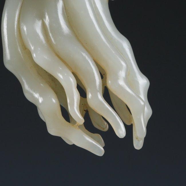 White Jade Buddha's Hand Citron Pendant - 3