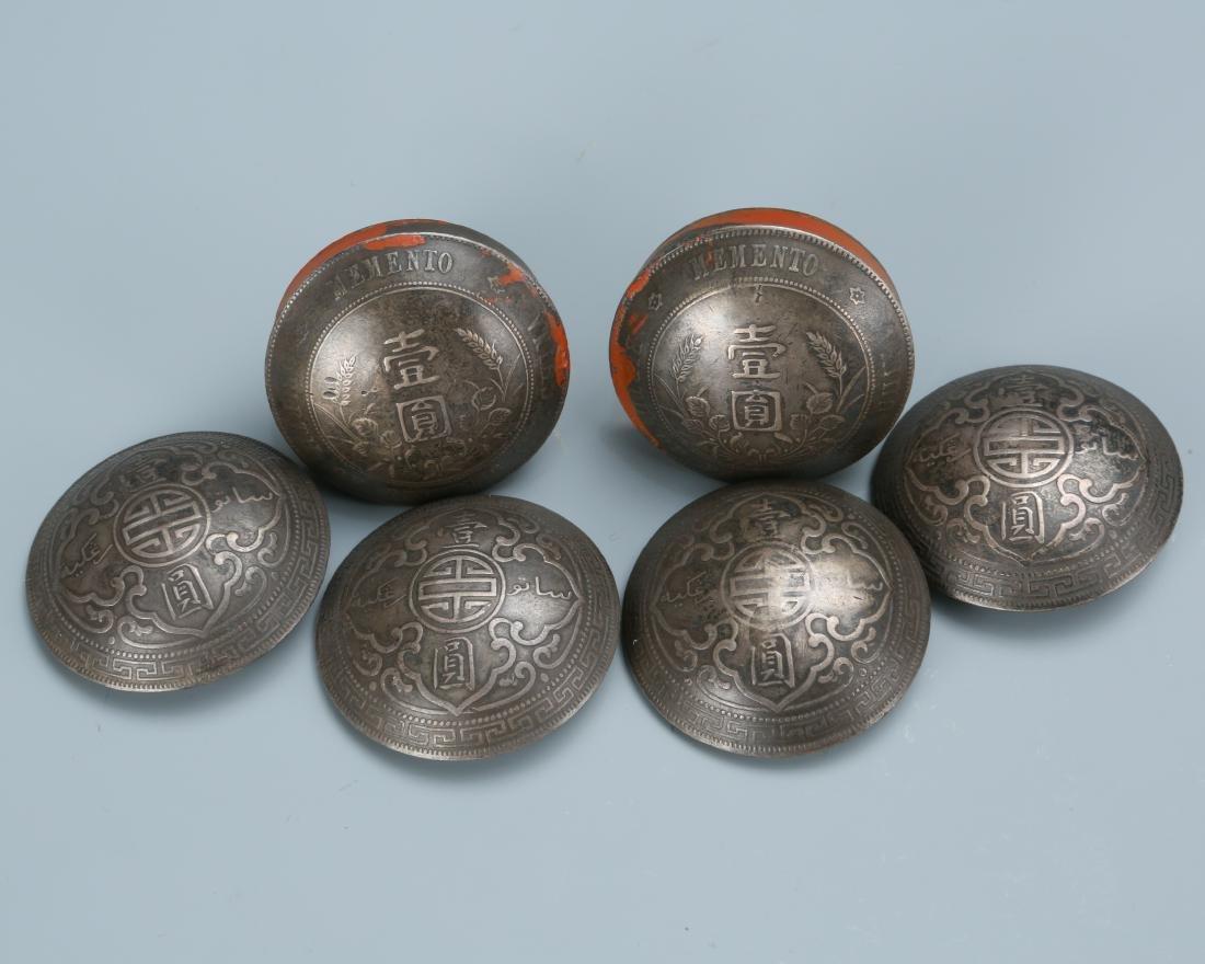 Set of Six Memento Silver Dollar Coin Button