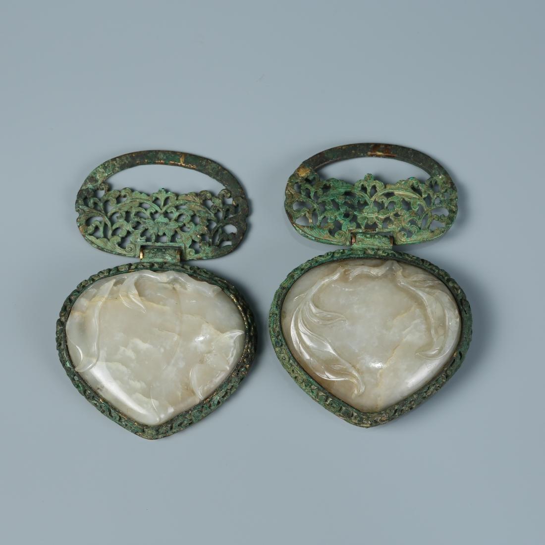 Pair of Gilt Bronze and White Jade Belt Buckle