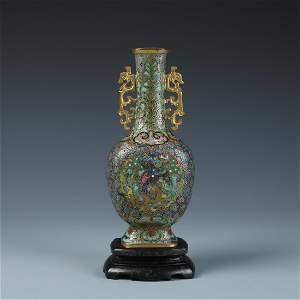 Roger Keverne: Cloisonne Enamel Bronze Vase,18th C.