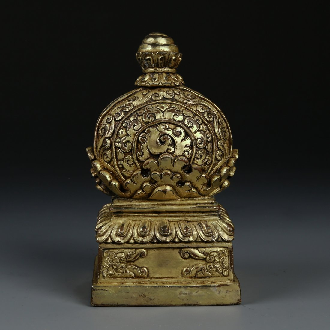 Very Ornate Gilt Bronze Square Seal with Mark - 4