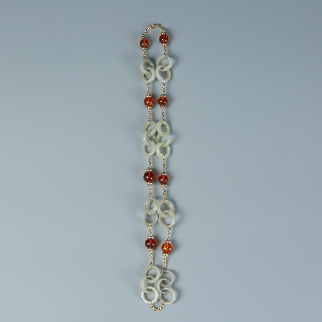 18K Jade Necklace of Rings with Amber Beads