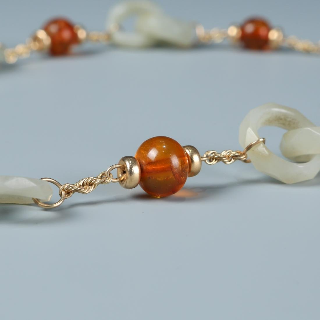 18K Jade Necklace of Rings with Amber Beads - 4