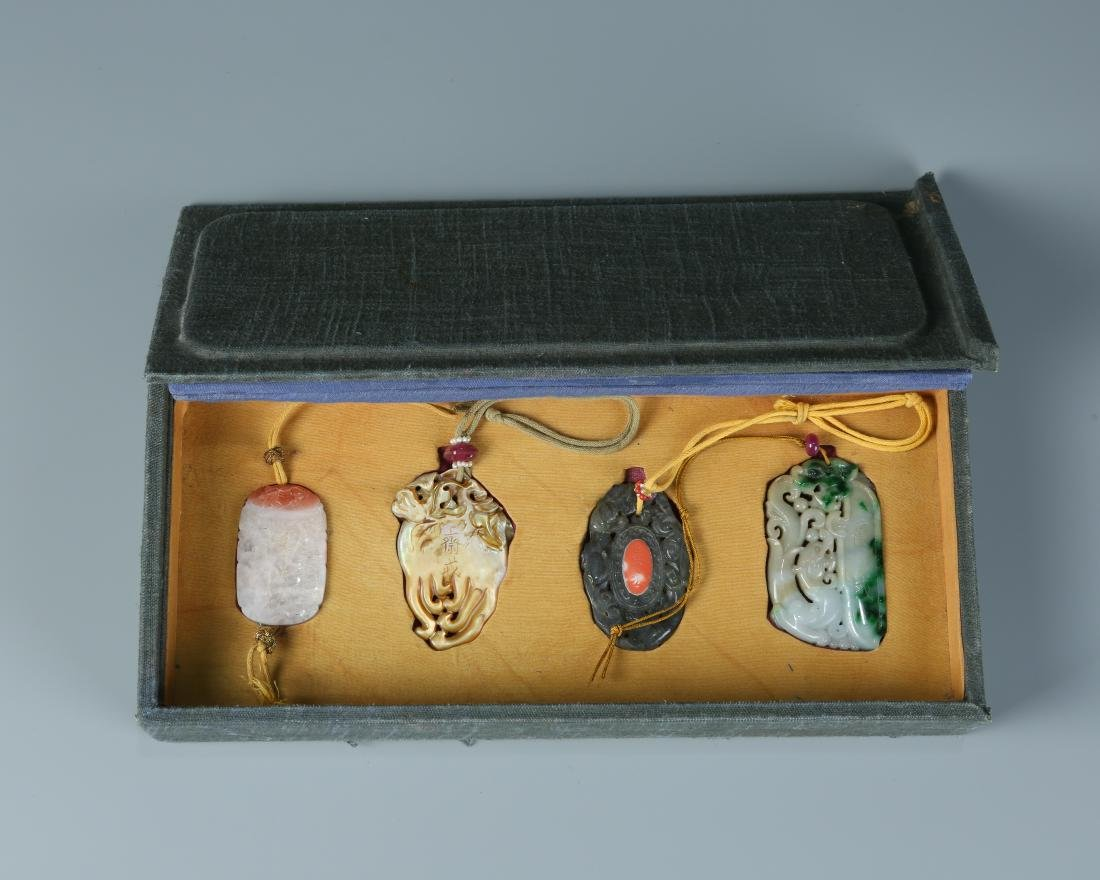 Set of Four Jade Pendants with lanyard in display box