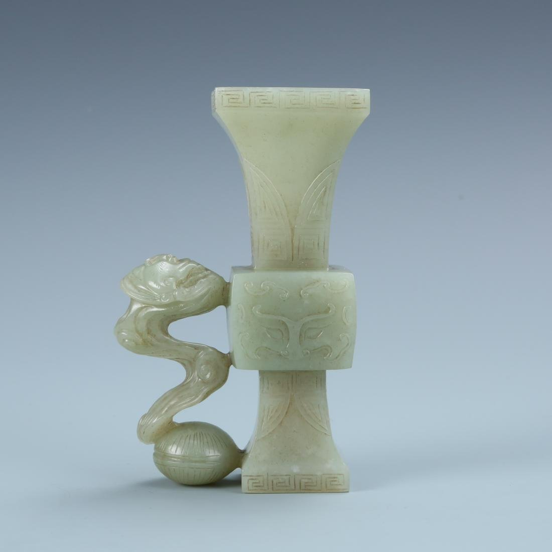 Carved White Jade Taotie Beaker Vase