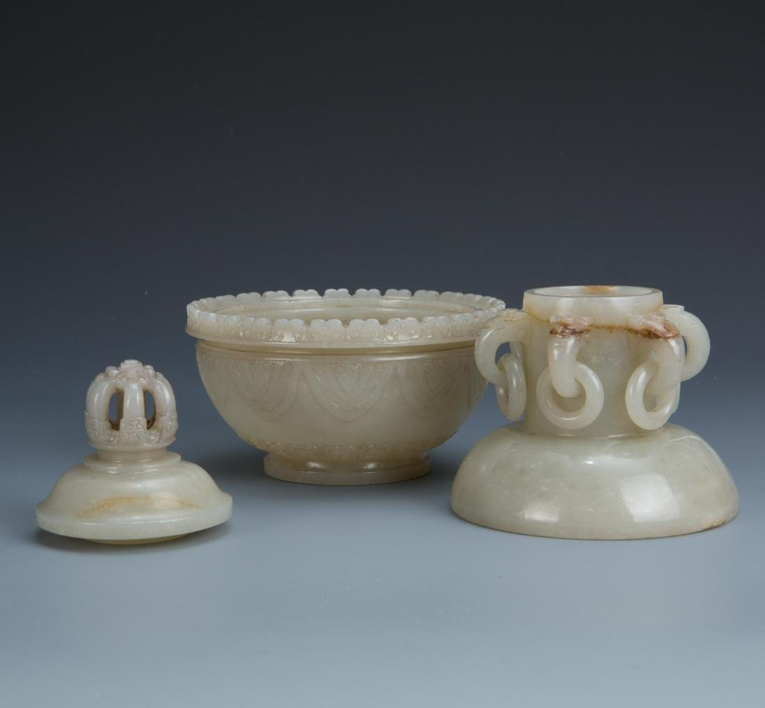 Carved White Jade Censer - 3