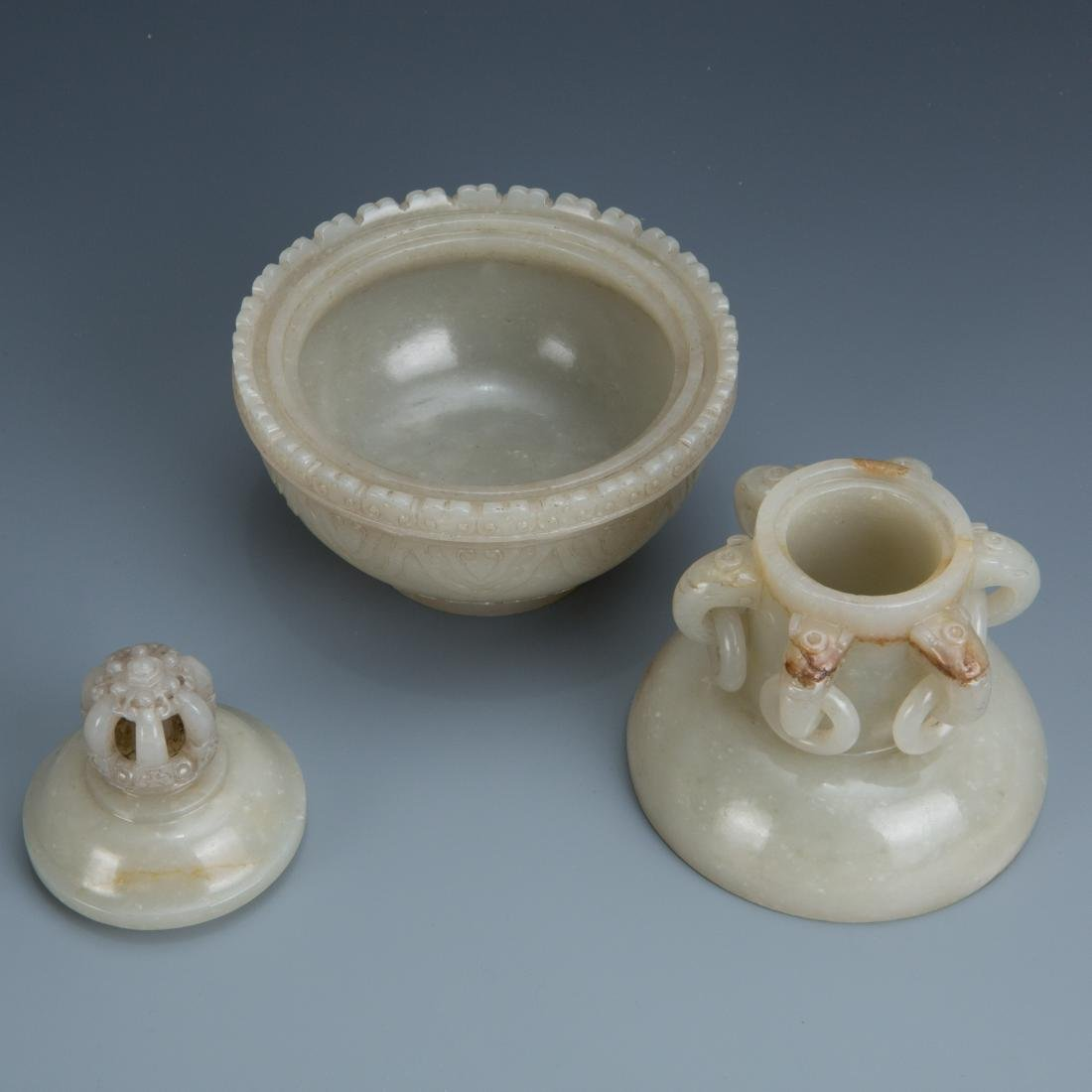 Carved White Jade Censer - 4