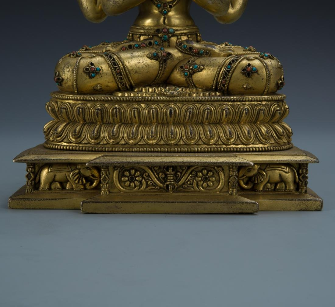 Gilt Bronze Figure of Avalokitesvara - 4