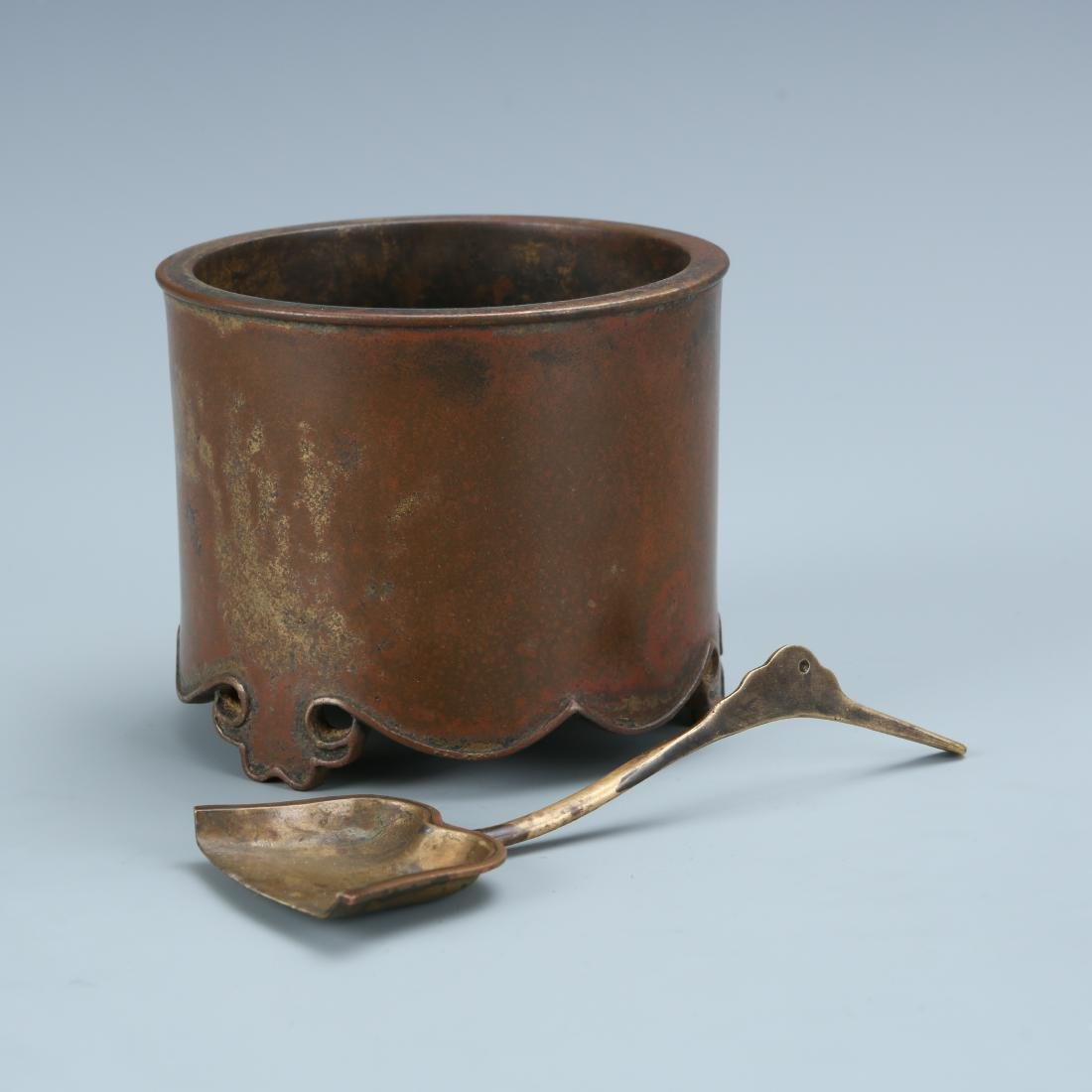 Bronze Washer with Spoon, Marked