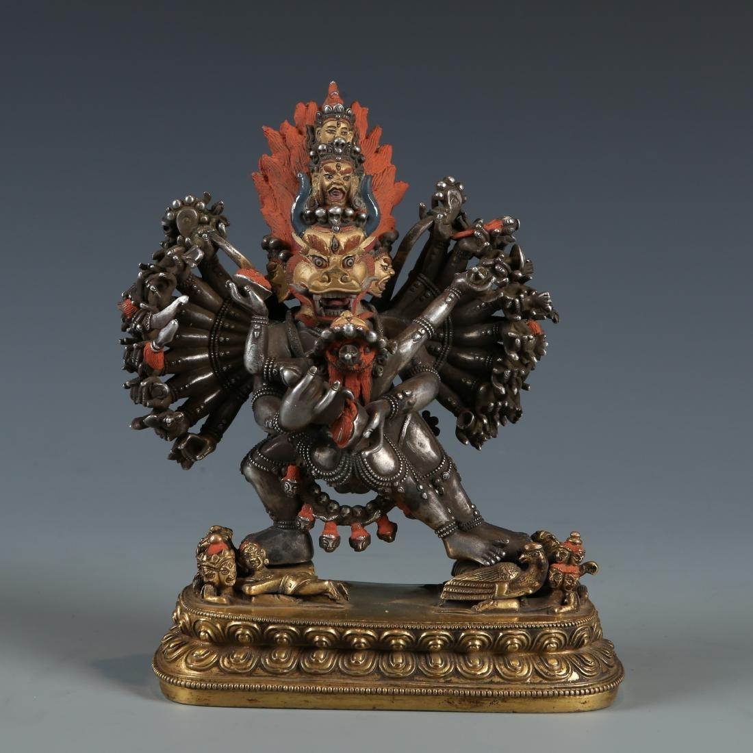 Silver Figure of Vajrabhairava and Vajravetali