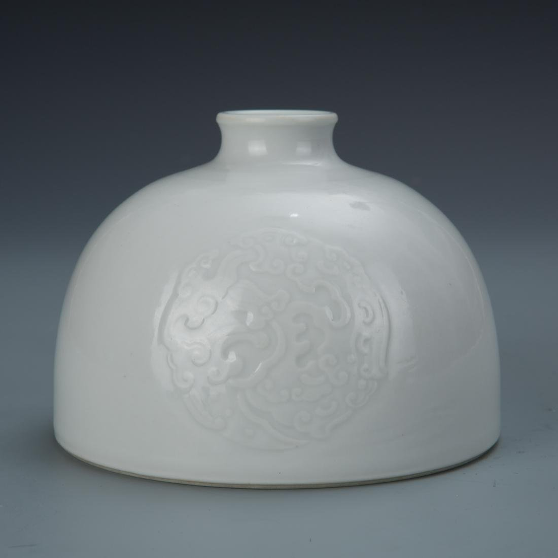 White glazed porcelain bee hive water pot with mark