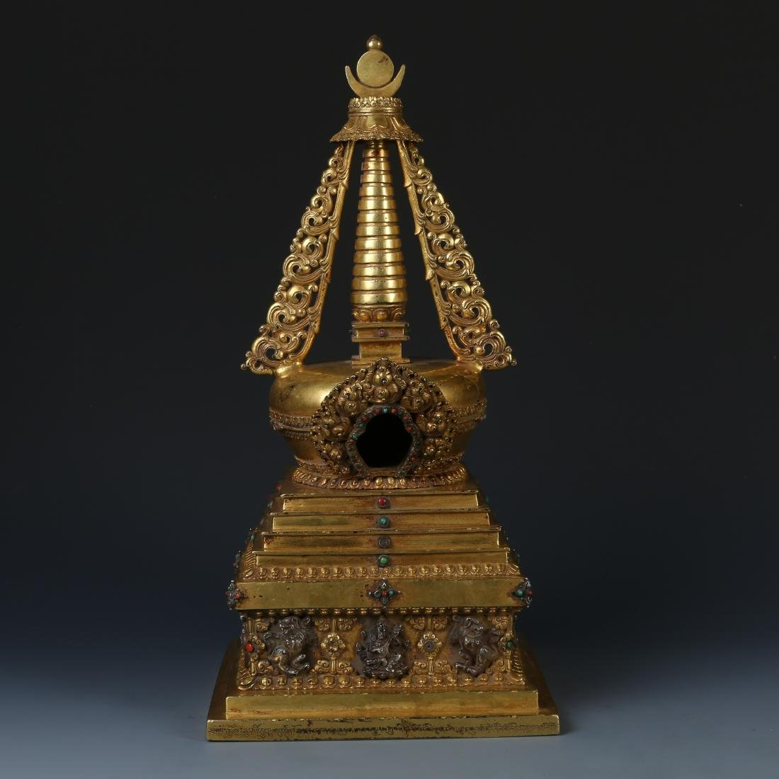 Gilt Bronze Stupa with Stone Inlay and Inscription