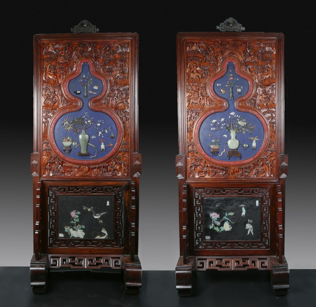 Sotheby's: Pair of Superbly Elaborated Cinnabar Screens
