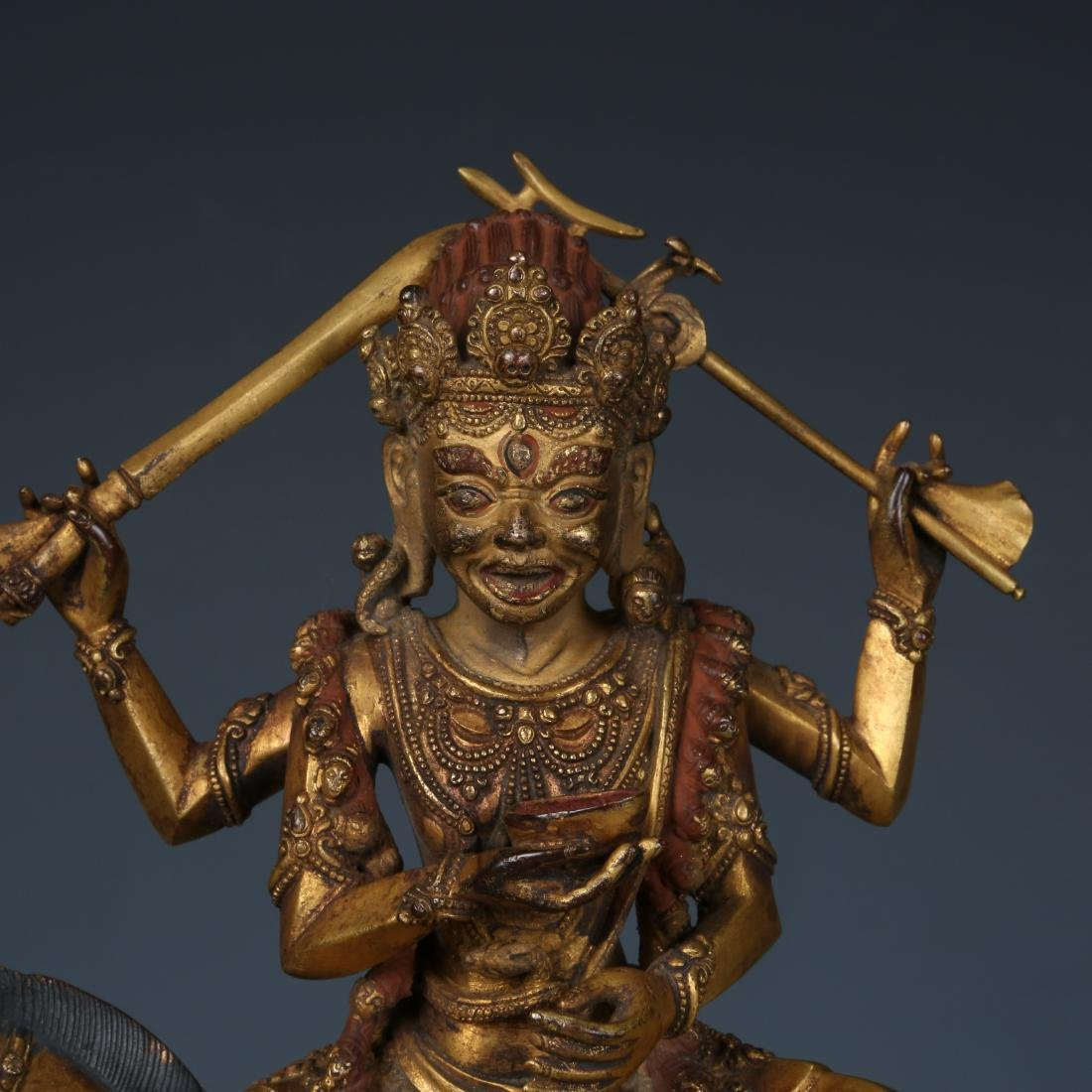 Gilt Bronze Figure of Palden Lhamo with Characters - 2