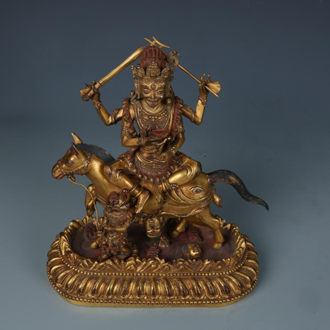 Gilt Bronze Figure of Palden Lhamo with Characters - 6