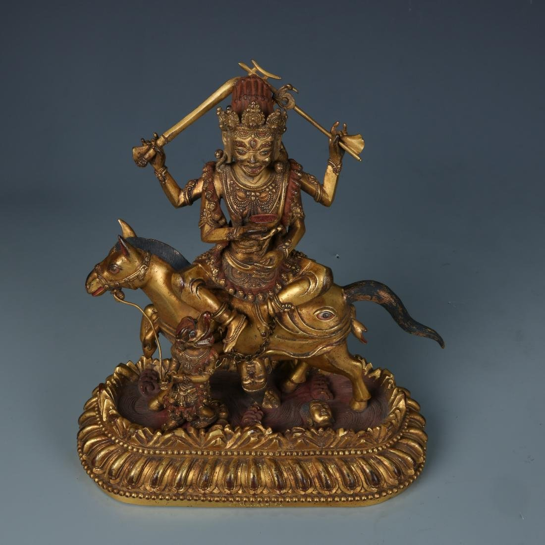 Gilt Bronze Figure of Palden Lhamo with Characters - 6