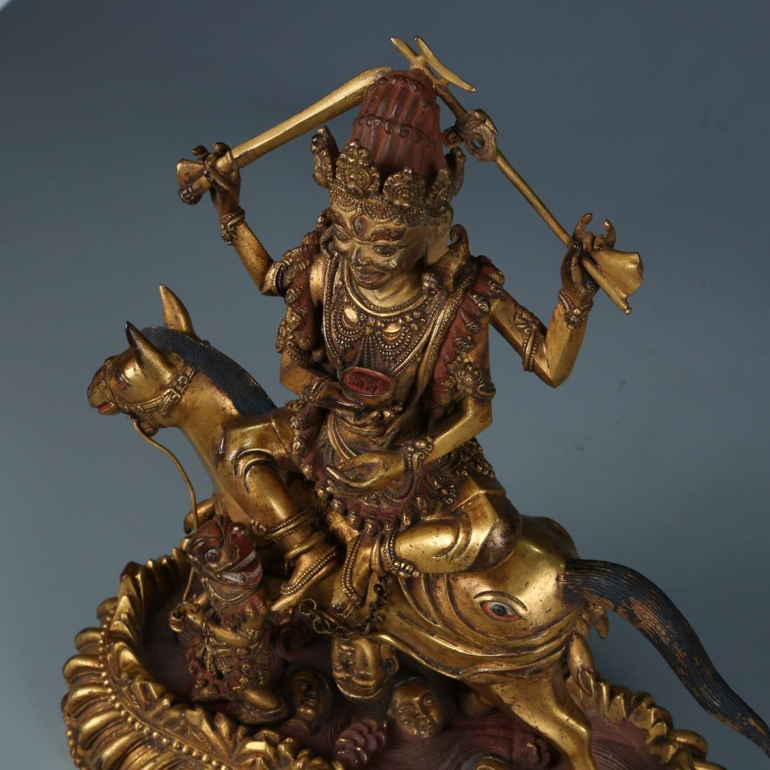 Gilt Bronze Figure of Palden Lhamo with Characters - 7