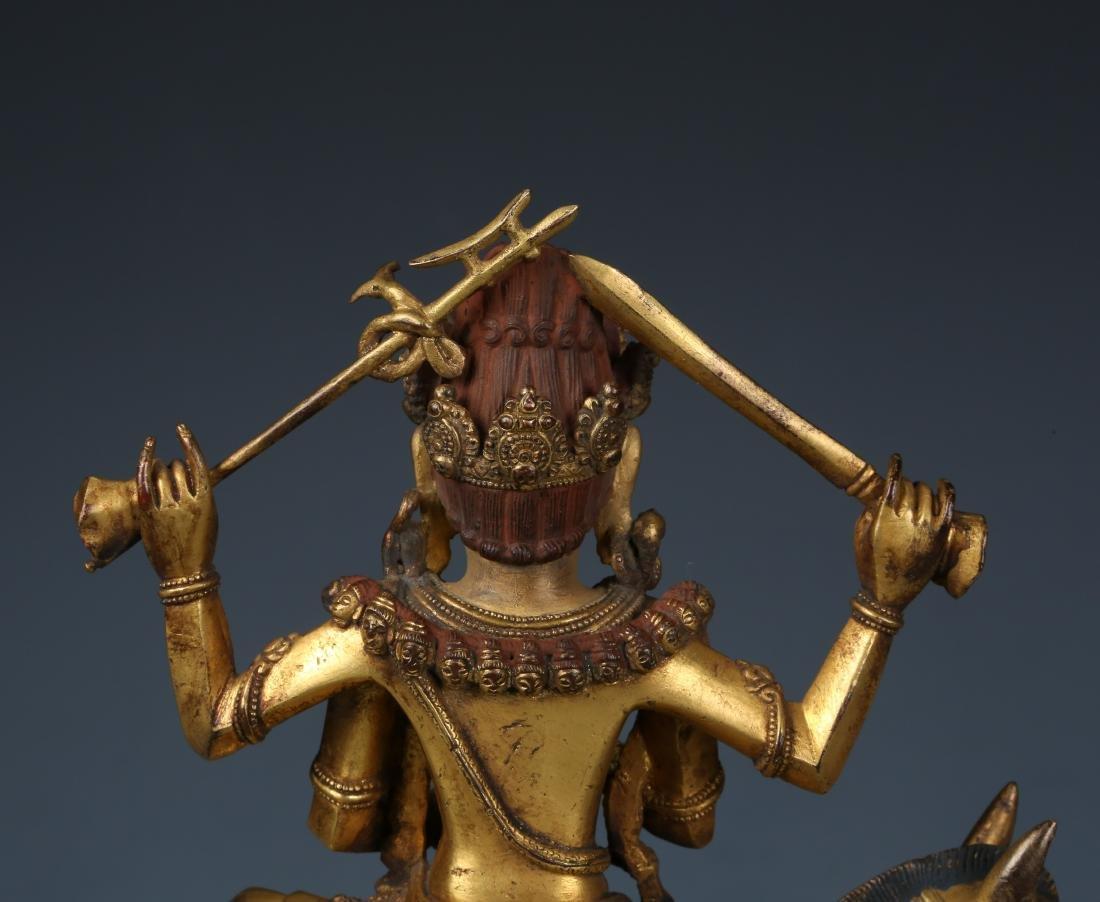 Gilt Bronze Figure of Palden Lhamo with Characters - 9