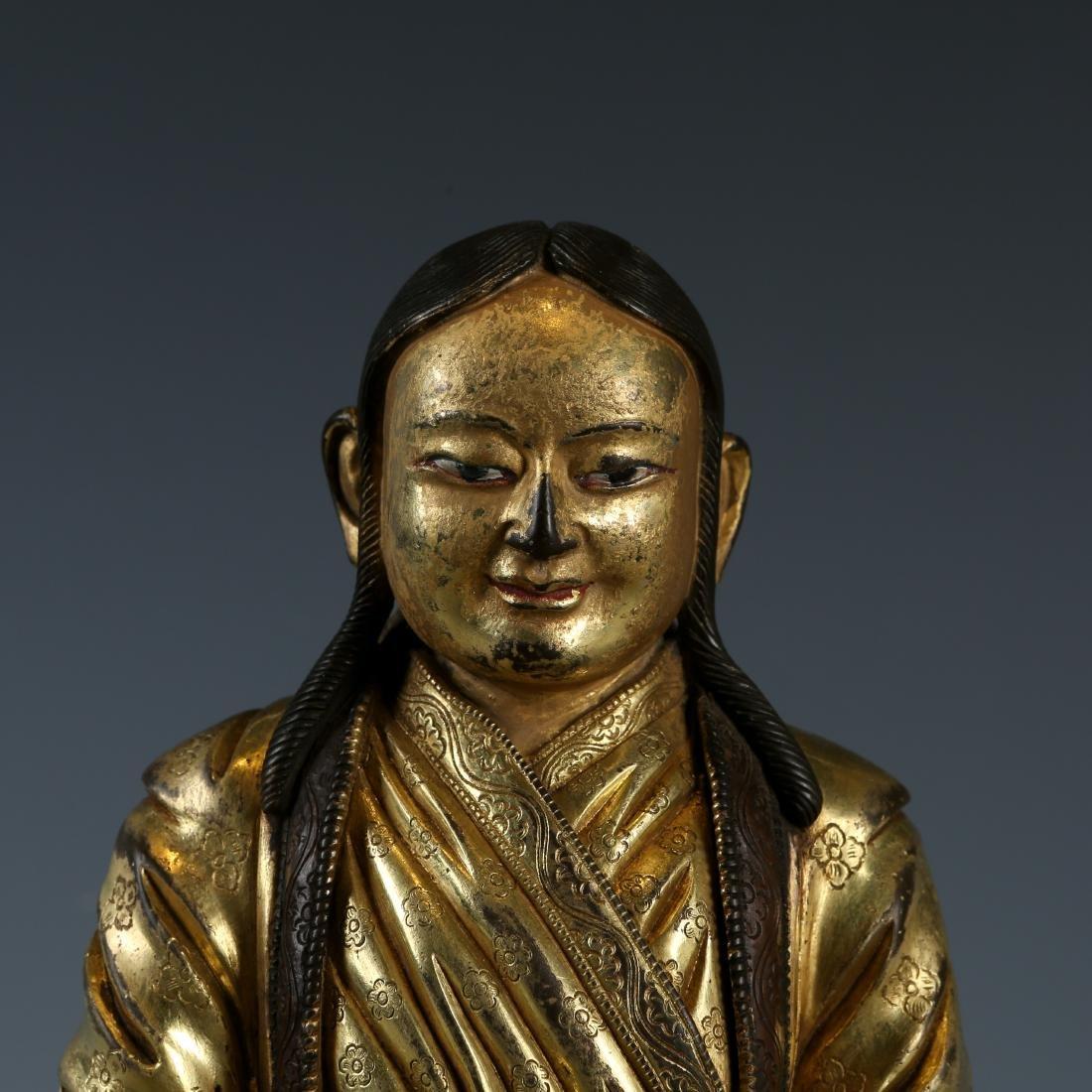 Gilt Bronze Figure of Guru - 2