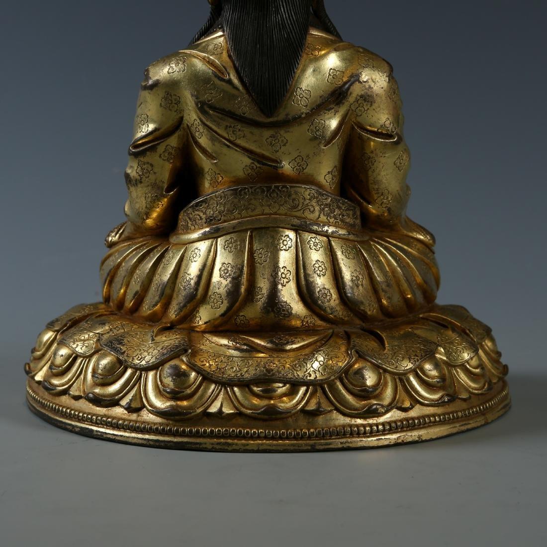 Gilt Bronze Figure of Guru - 5