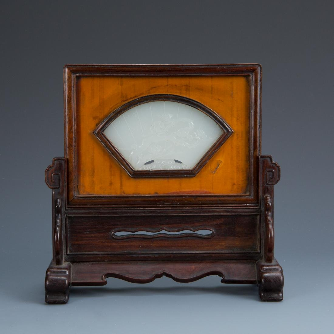 White Jade Fan Table Screen on wood Stand