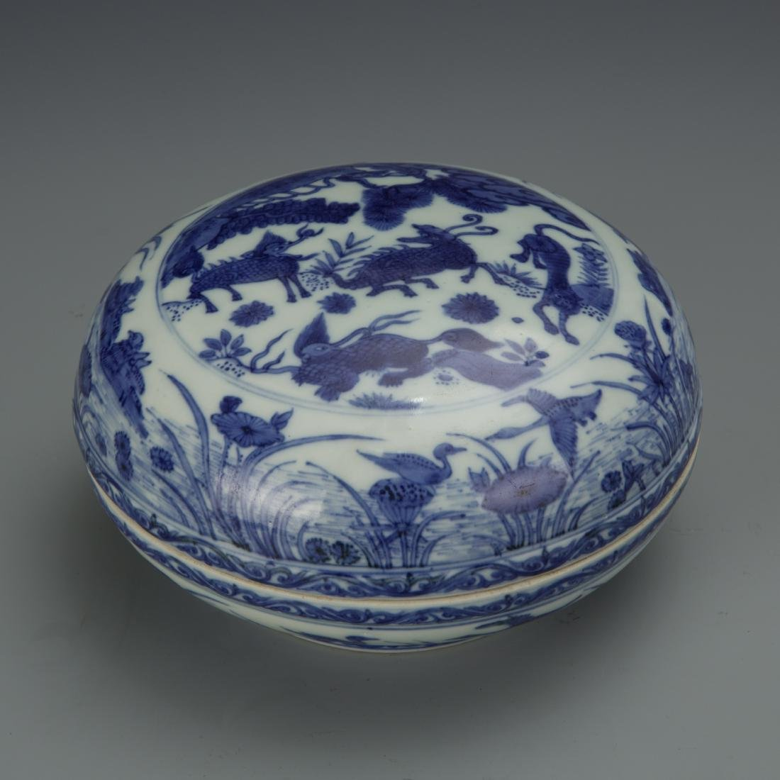 Blue and White Porcelain Box with Mark
