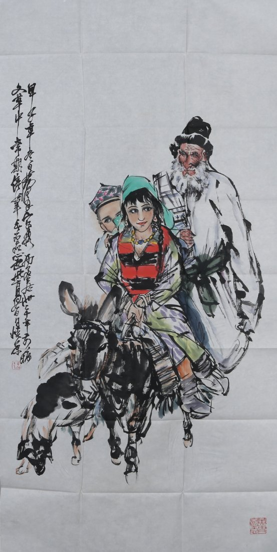 HUANG ZHOU: 'Riding Donkey' Ink and Color on Paper