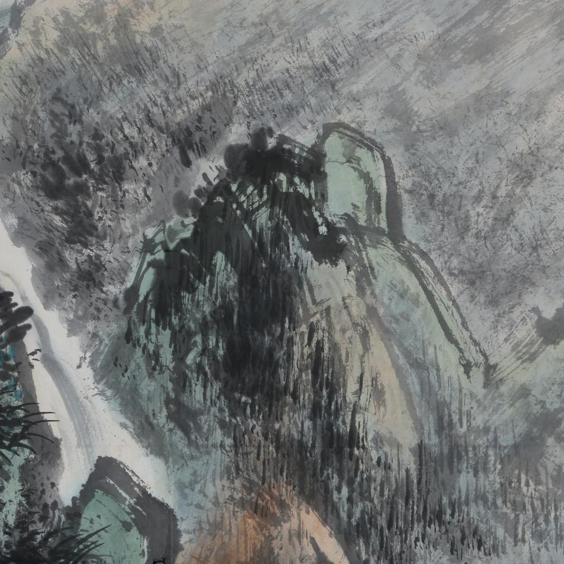 LI XIONGCAI: 'Pine Trees By Waterfall' Hanging Scroll - 5