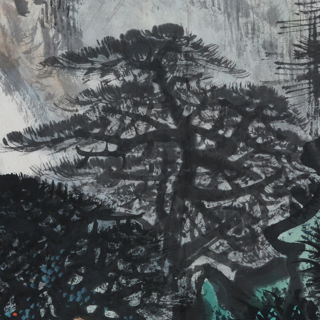 LI XIONGCAI: 'Pine Trees By Waterfall' Hanging Scroll - 6