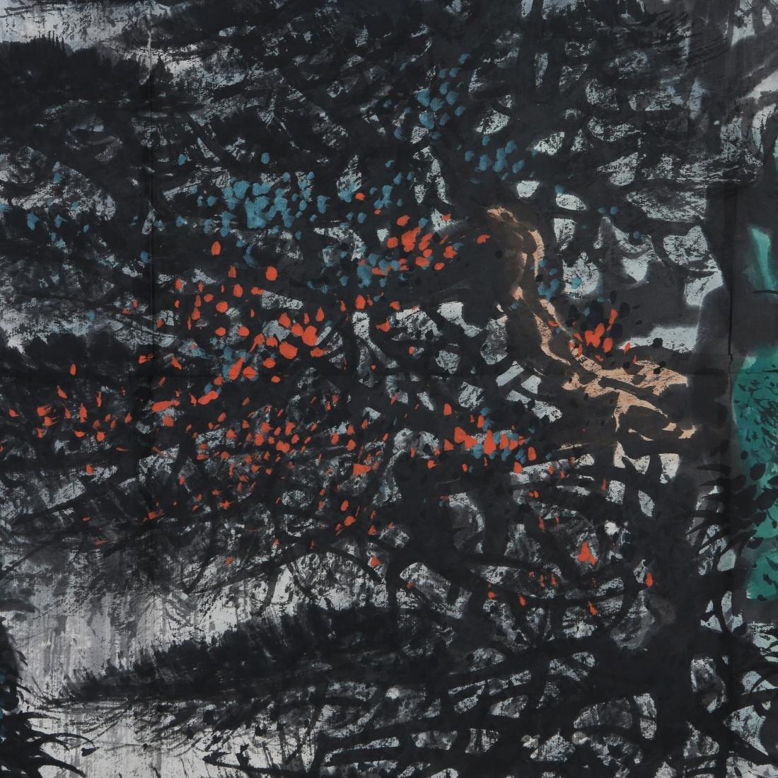 LI XIONGCAI: 'Pine Trees By Waterfall' Hanging Scroll - 7