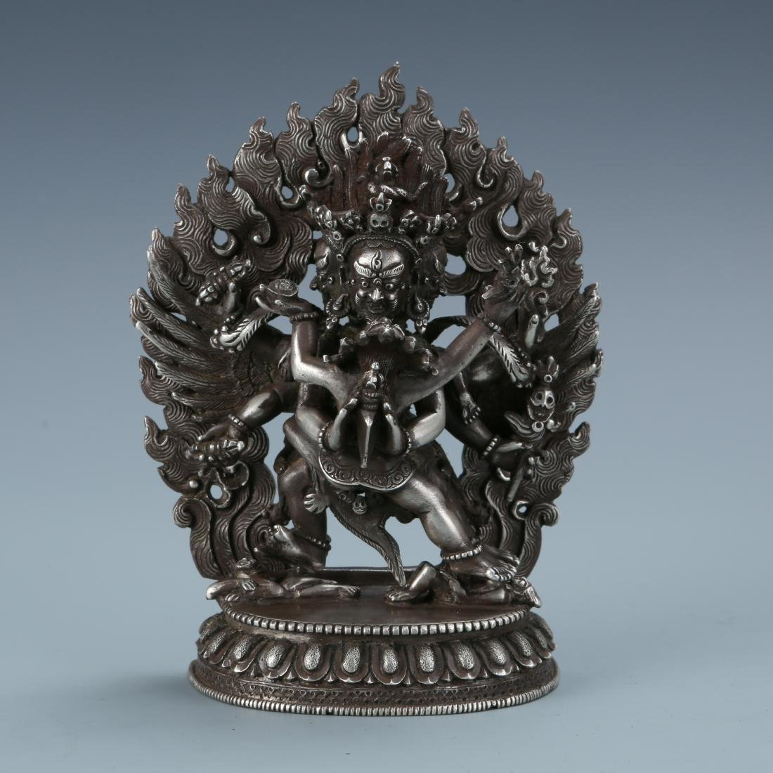 Silver Figure of Vajrabhairava and Shakti