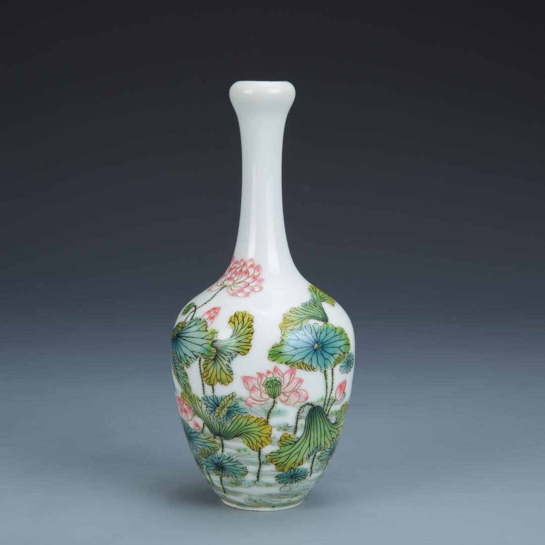 Famille Rose Porcelain Bottle Vase with Mark