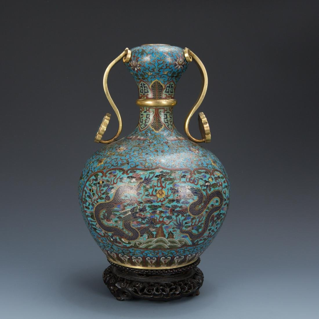 Cloisonne Enamel Vase and wood base with mark