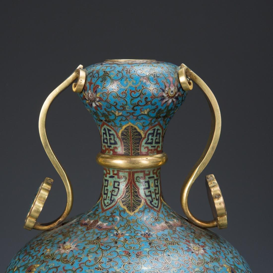 Cloisonne Enamel Vase and wood base with mark - 2