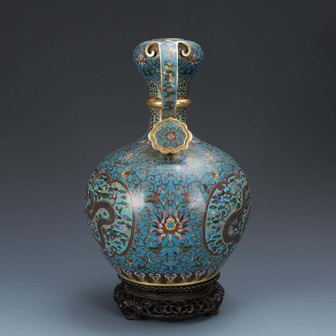 Cloisonne Enamel Vase and wood base with mark - 3