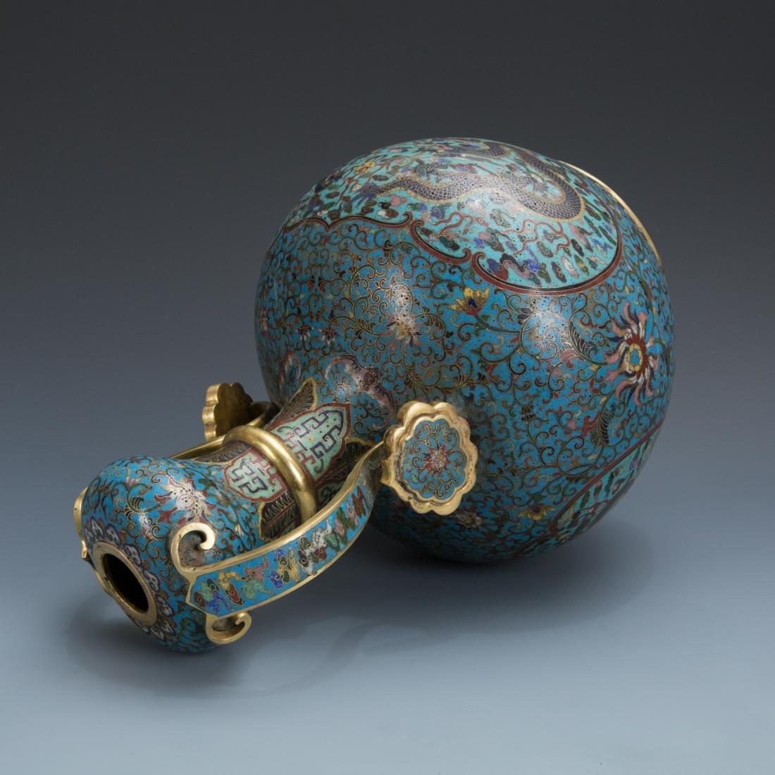Cloisonne Enamel Vase and wood base with mark - 6