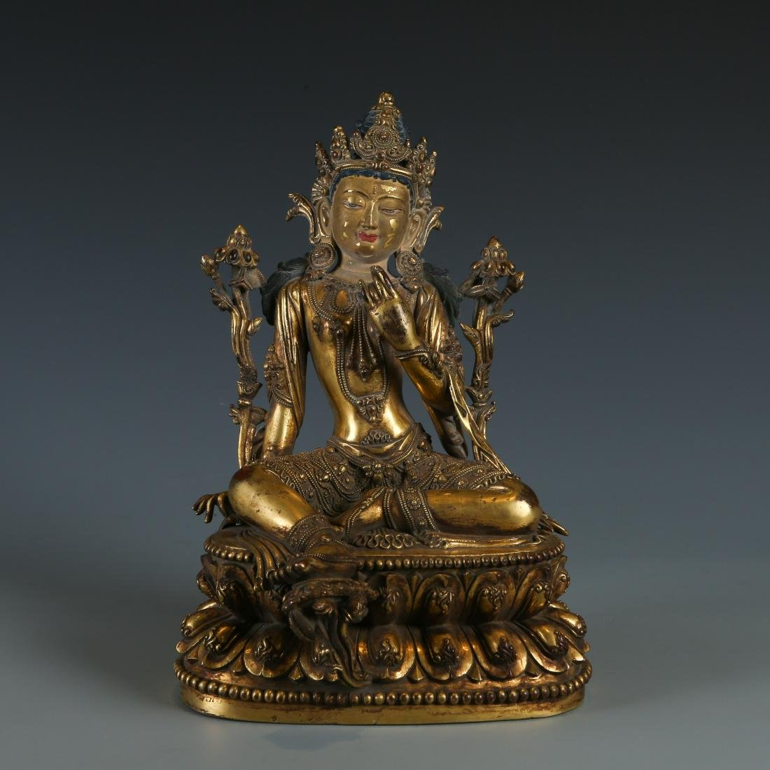 A Rare Gilt-Bronze Figure of Manjushri, Yongle Mark