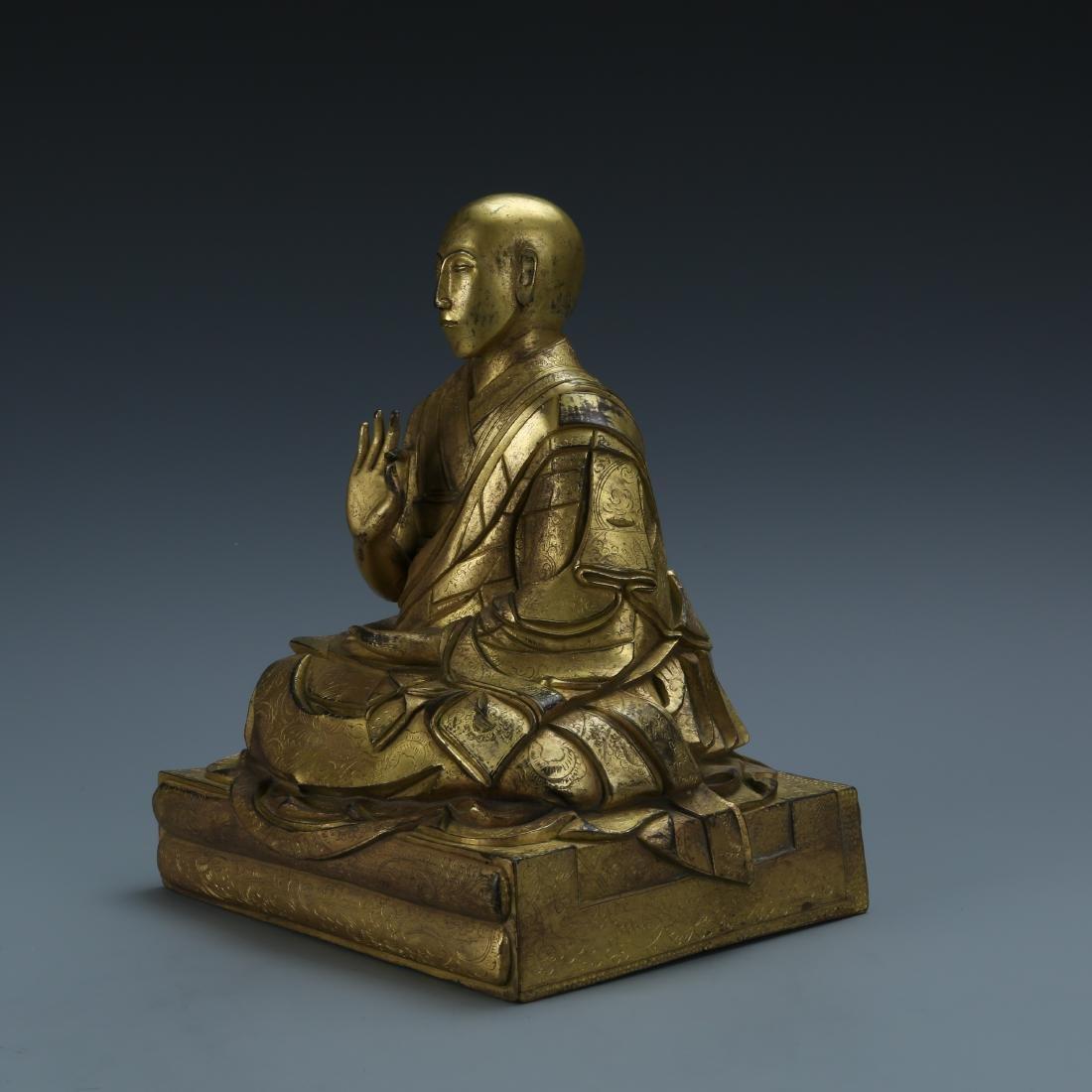 Gilt Bronze Figure of Fifth Dalai - 3