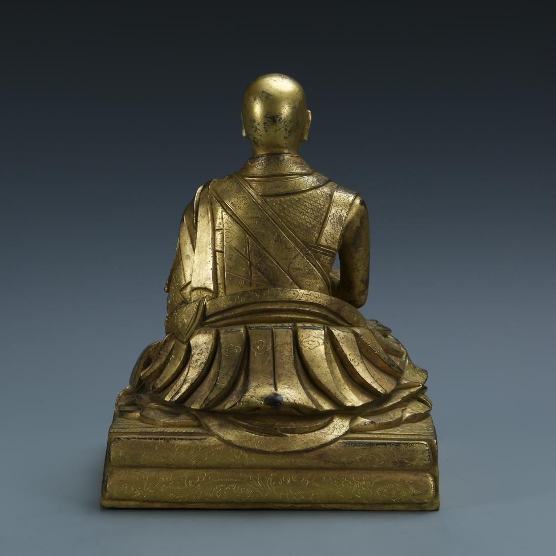Gilt Bronze Figure of Fifth Dalai - 4