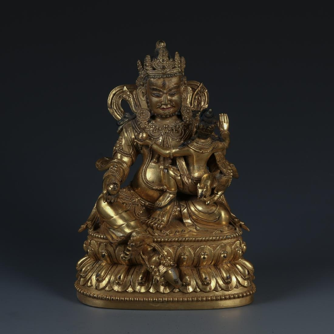 A Fine Gilt Bronze Figure of Jambhala, Tibetan, 17/18th