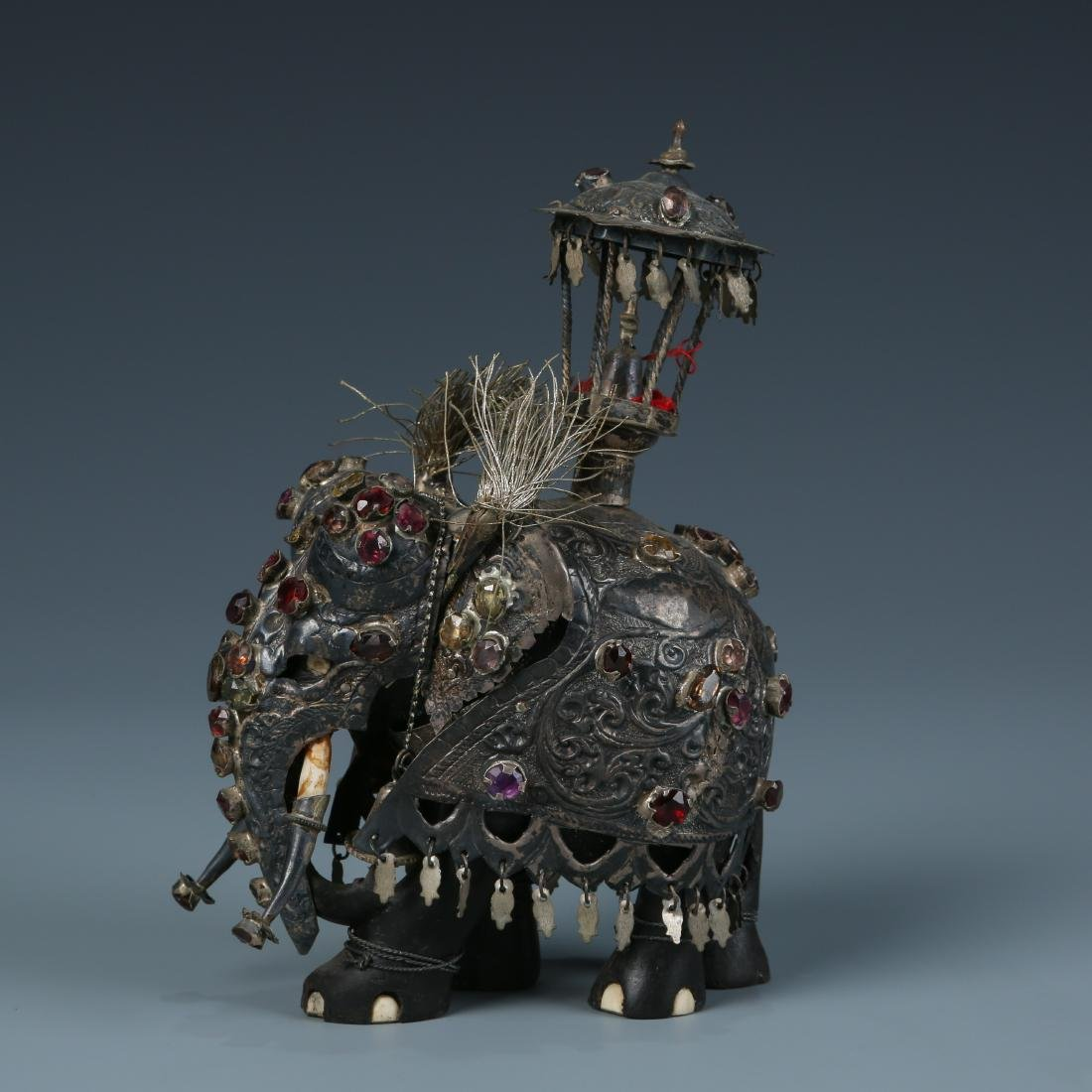 Silver Elephant with Multi Colored Stone Inlay