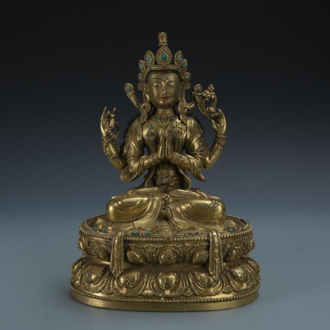 A Gilt-Bronze Figure of Sadaksari Avalokitesvara, Tibet