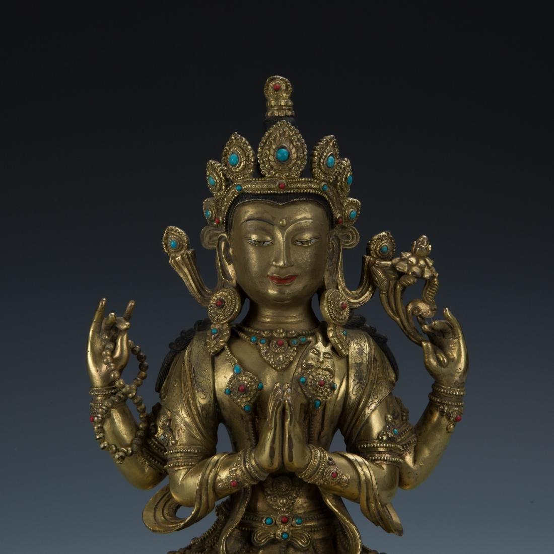 A Gilt-Bronze Figure of Sadaksari Avalokitesvara, Tibet - 2