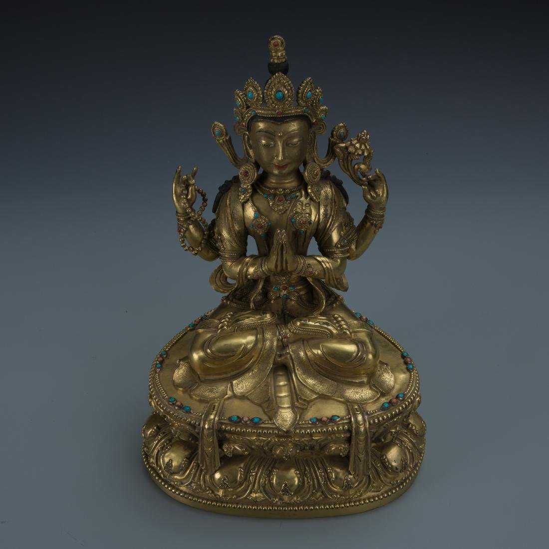 A Gilt-Bronze Figure of Sadaksari Avalokitesvara, Tibet - 4