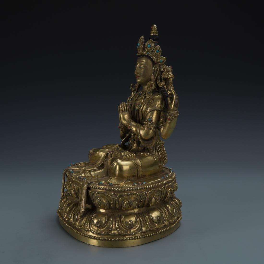 A Gilt-Bronze Figure of Sadaksari Avalokitesvara, Tibet - 5