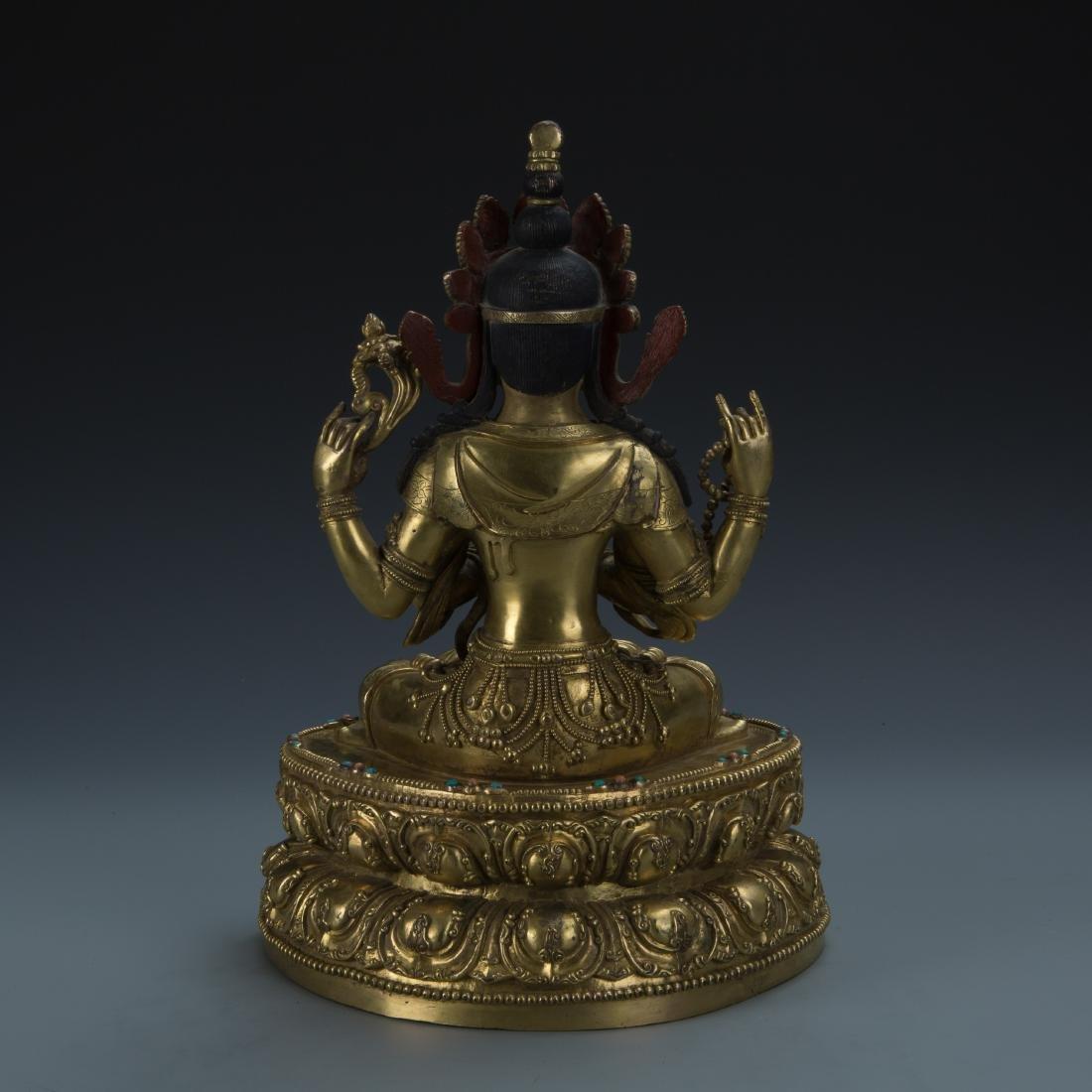 A Gilt-Bronze Figure of Sadaksari Avalokitesvara, Tibet - 6